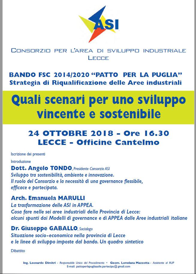 Bando 2018 2020 Patto Per La Puglia Strategia Di Riqualificazione Delle Zone Industriali Consorzio Per L Area Di Sviluppo Industriale Lecce